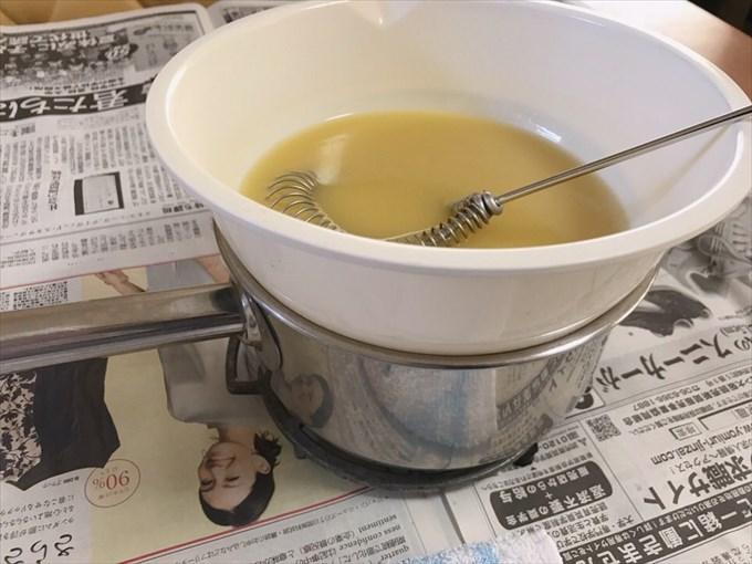 攪拌中に温度が下がってきたので湯煎しました