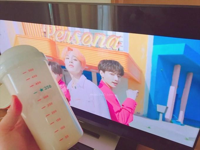 BTS動画を見ながら宅トレ後のプロティン